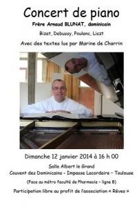 concert piano 12 janvier 2014  Arnaud Blunat  Dominicains Toulouse