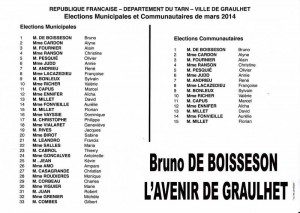liste B de Boisseson l avenir de Graulhet 23 mars 2014