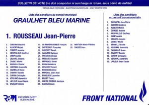 liste Bleu marine graulhet 23 mars 2014