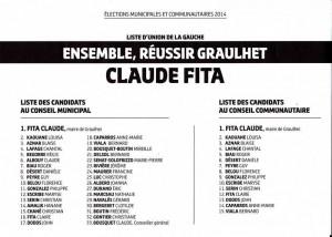 liste C Fita Ensemble reussir Graulhet 23 mars 2014