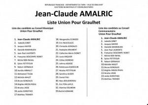 liste JC AMALRIC  UDI Graulhet 23 mars 2014