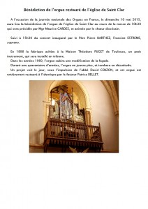 Saint Clar  orgue  10 mai 2015